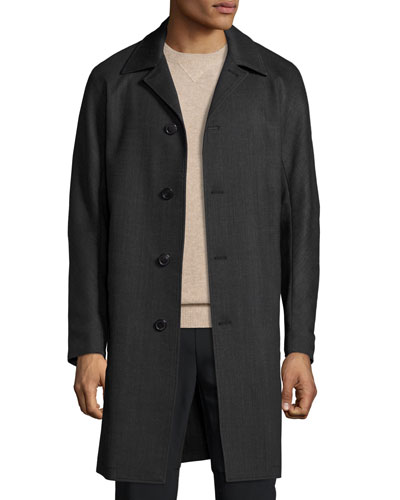 Porter Palmer Single-Breasted Coat, Black/Melange Gray