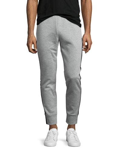 Teknit Track-Stripe Jogger Pants, Gray
