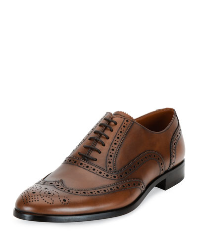 Bruck Wing-Tip Leather Oxford Shoe, Brown