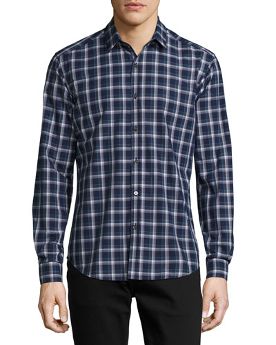 Zack Saarland Plaid Sport Shirt, Navy