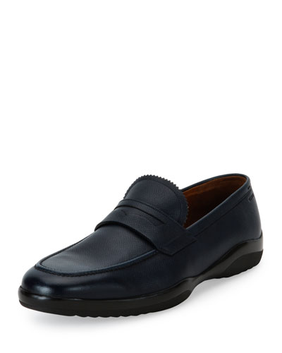 Micson Textured Leather Penny Loafer, Blue/Black