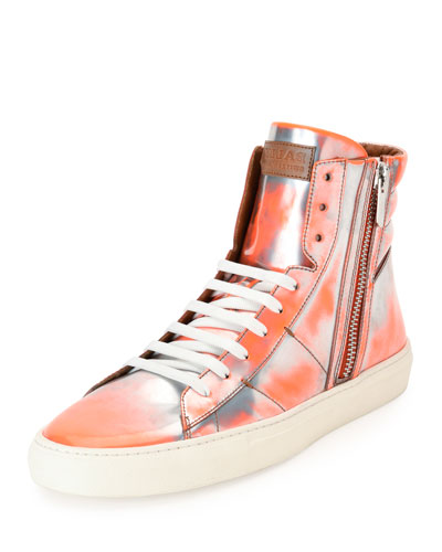 Hensel Fluorescent Leather High-Top Sneaker, Orange