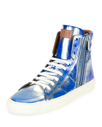 Hensel Fluorescent Leather High-Top Sneaker, Blue