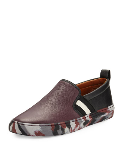 Herald Leather Slip-On Sneaker with Camo Sole, Red