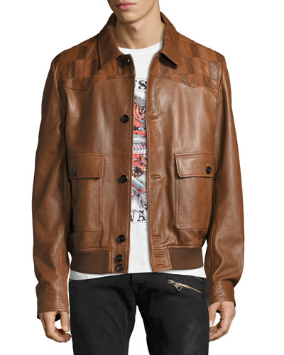 Leather Patchwork-Yoke Blouson Jacket, Sand/Tan