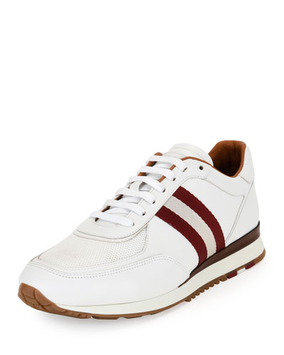 Leather Trainer Sneaker w/Trainspotting Stripe, White
