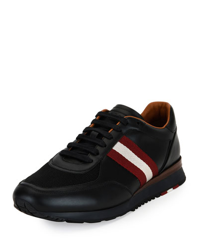 Leather Trainer Sneaker w/Trainspotting Stripe, Black