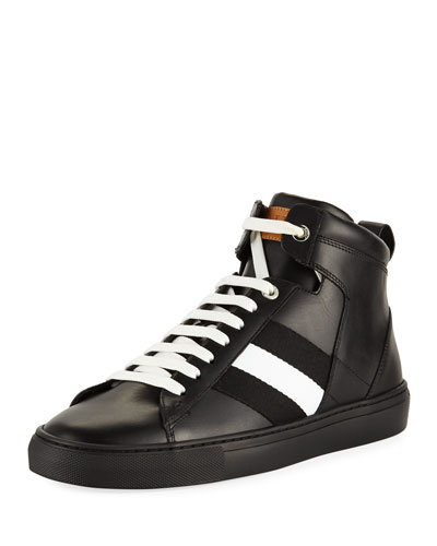 Vitello High-Top Sneaker with Trainspotting Stripe, Black