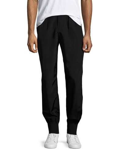 Rayon Faille Pull-On Track Pants, Black