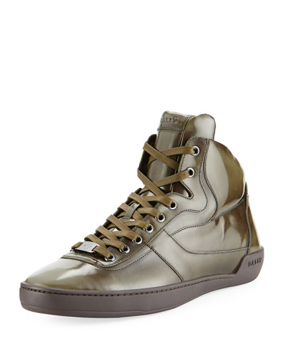 Eroy Burnished Leather Mid-Top Sneaker, Green