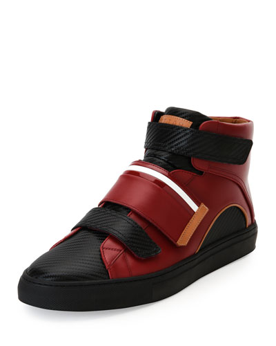 Herick Leather Low-Top Sneaker, Red/Black