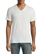 Slub-Knit V-Neck T-Shirt, Black