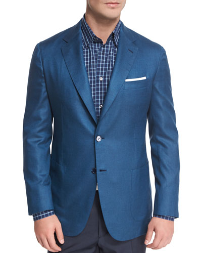 Solid Silk Two-Button Blazer, Blue