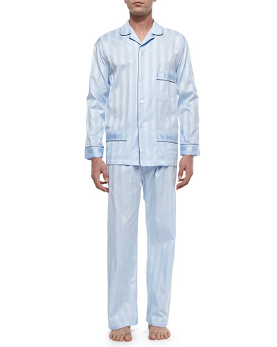 Tonal-Striped Cotton Pajama Set