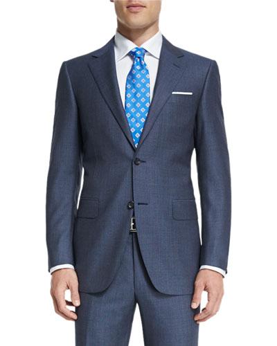 Sienna Contemporary-Fit Birdseye-Stripe Two-Piece Suit, Gray