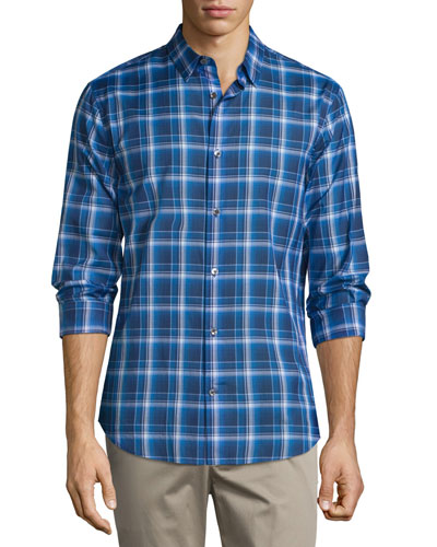 Manhattan Plaid Long-Sleeve Sport Shirt, Vibrant Blue