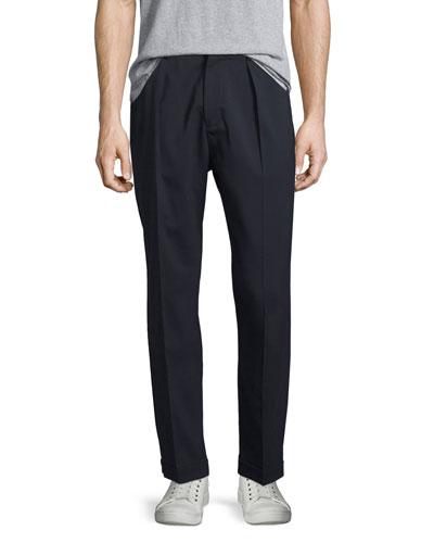Cuffed-Hem Stretch-Wool Pants, Coastal