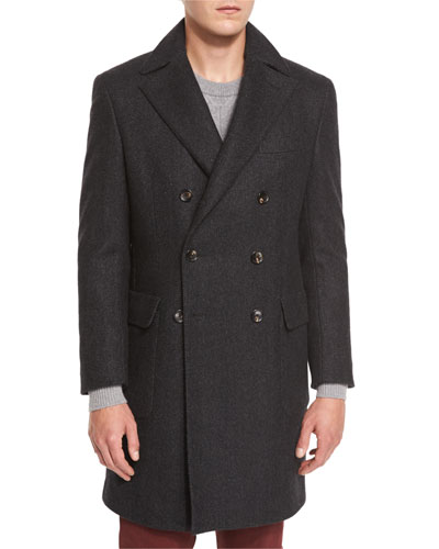Herringbone Cashmere Double-Breasted Coat