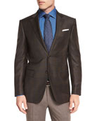 Ermenegildo Zegna Textured Two-Button Blazer, Black