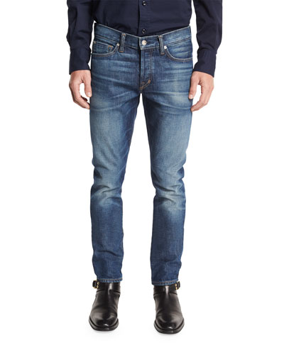 Slim-Fit High Low Selvedge Denim Jeans, Indigo