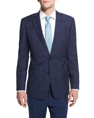 G-Line Large Plaid Wool Sport Coat, Navy