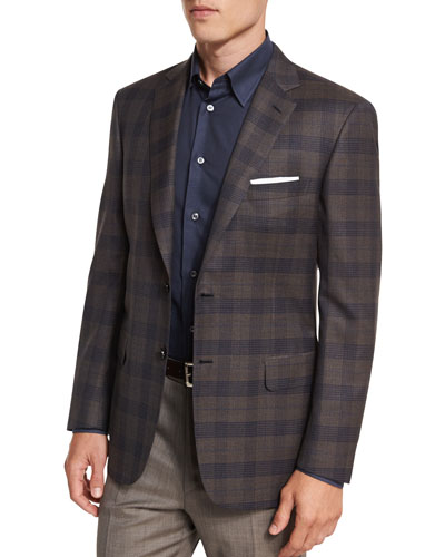 Plaid Two-Button Sport Jacket, Brown