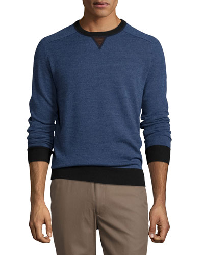 Sueded-Trim Crewneck Sweater, Navy