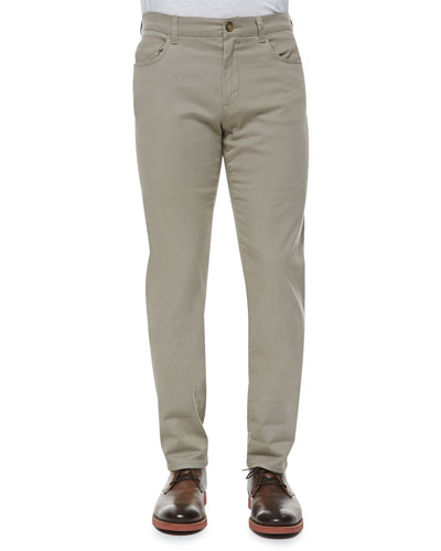 5-Pocket Stretch-Cotton Pants, Khaki