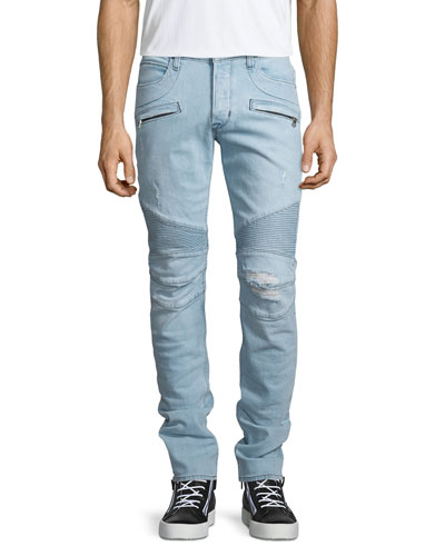 Blinder Distressed Moto Denim Jeans, Light Blue