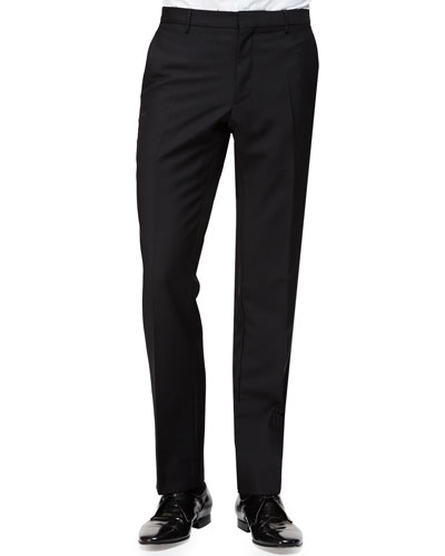 Flat-Front Wool/Mohair Trousers, Black