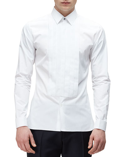 Long-Sleeve Formal Tuxedo Shirt, White