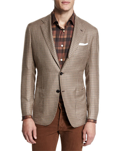 Houndstooth Two-Button Cashmere Jacket, Tan/Brown