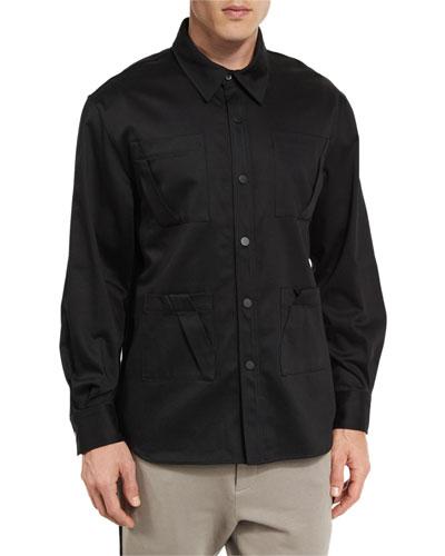 Long-Sleeve Fold-Detail Utility Shirt