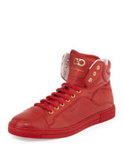 Lambskin High-Top Sneaker, Red