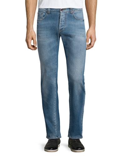Five-Pocket Faded Stretch Denim Jeans, Blue