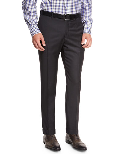 Twill Flat-Front Trousers, Charcoal