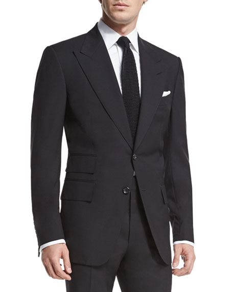 TOM FORD Windsor Base Peak-Lapel Two-Piece Suit, Black