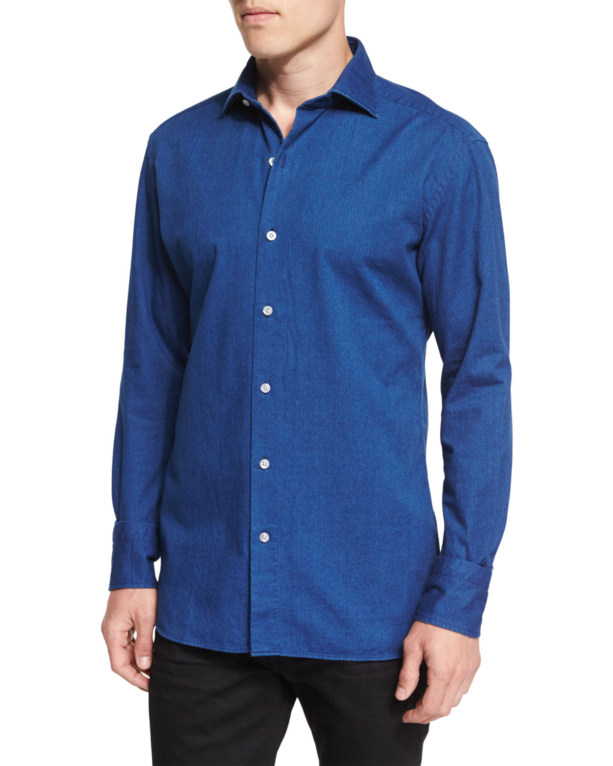 Long-Sleeve Lightweight Denim Shirt
