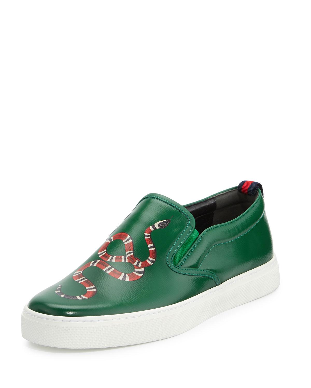 Dublin Snake-Print Leather Slip-On Sneaker