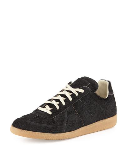 Replica Calf Hair Low-Top Sneaker, Black