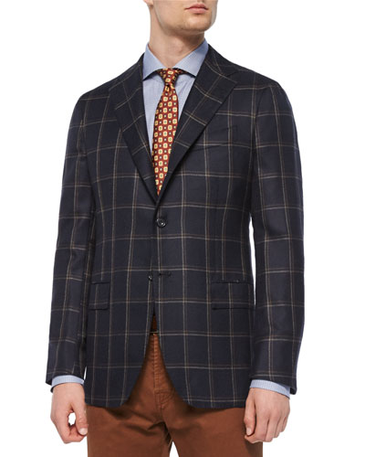 Double Windowpane Cashmere Two-Button Sport Coat, Navy