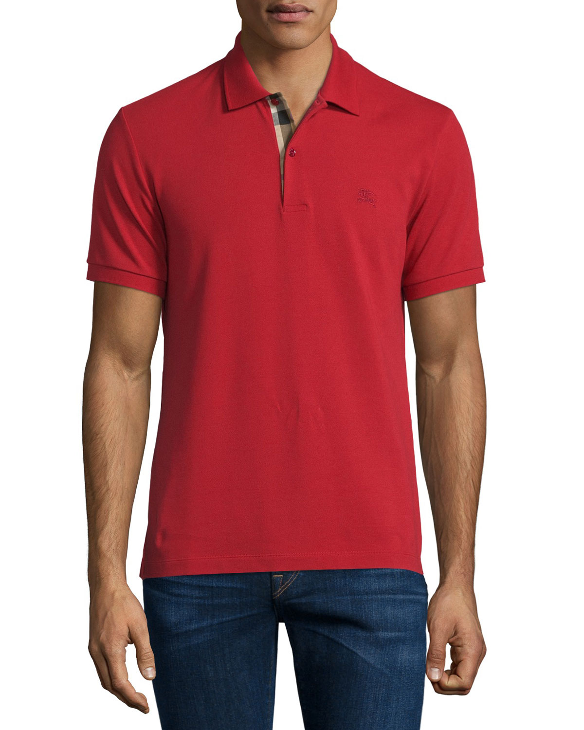 Short-Sleeve Oxford Polo Shirt, Military Red