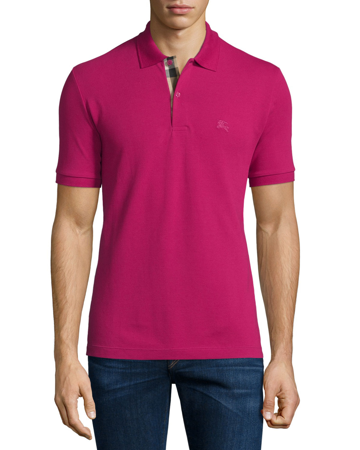 Short-Sleeve Pique Polo Shirt, Fuchsia