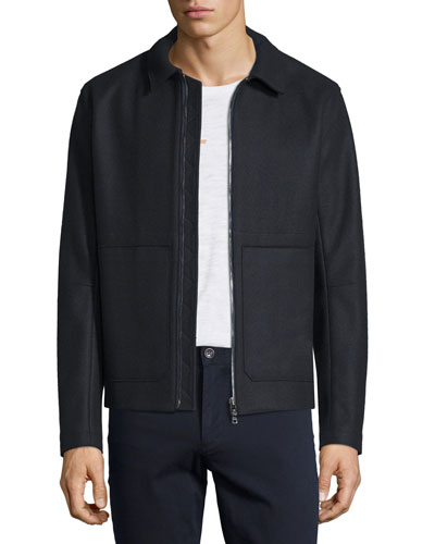 Raw-Edge Zip-Up Utility Jacket
