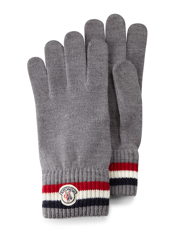 Logo-Striped Cashmere Knit Gloves, Gray