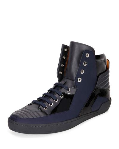 Etman Rubberized Leather High-Top Sneaker