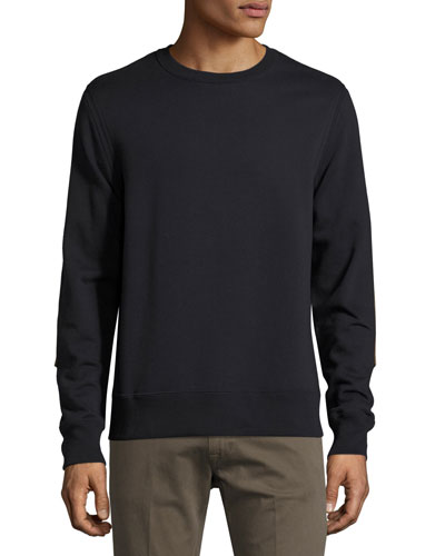 Cotton-Blend Sweatshirt with Leather Elbow Patches, Navy