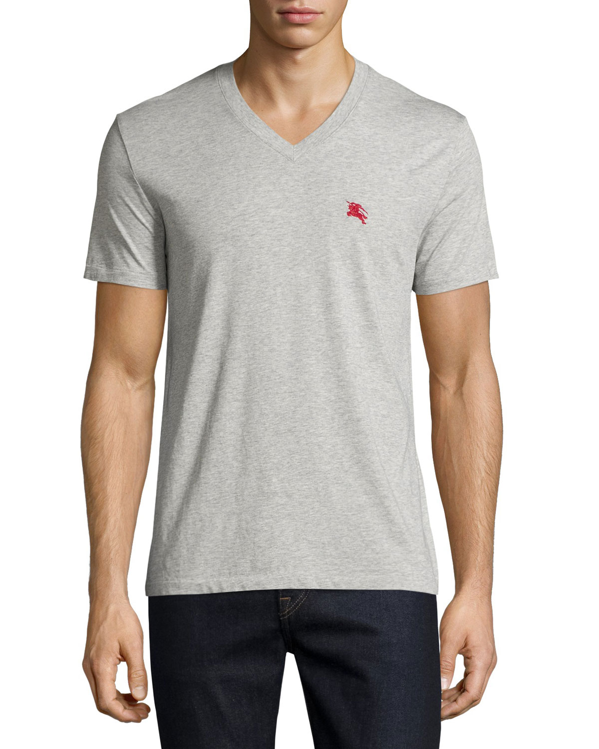Lindon Cotton V-Neck T-Shirt, Gray