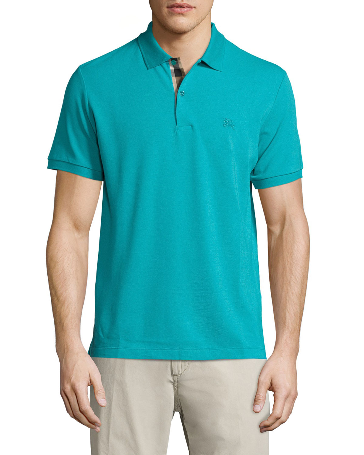 Check-Placket Piqué Polo Shirt, Aqua Green