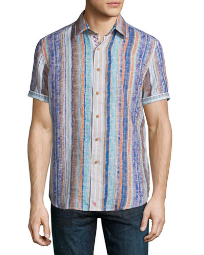 South Dakota Textured-Stripe Short-Sleeve Shirt, Multicolor